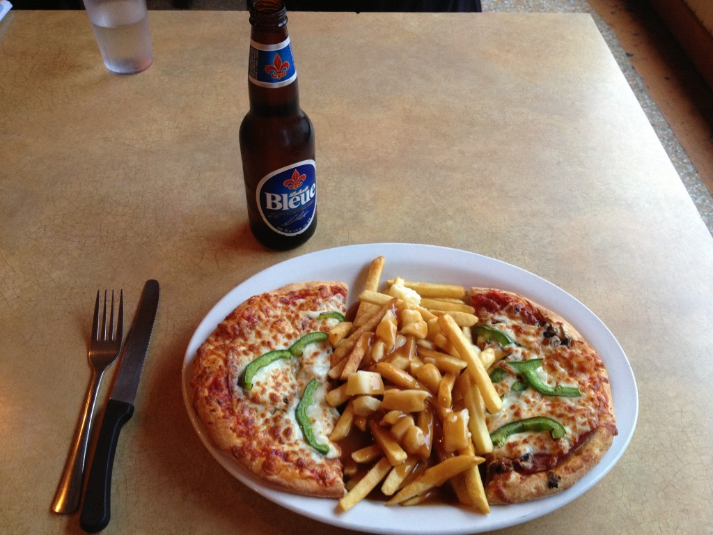 Not just poutine...pizza poutine! (and a Bleue...mmm Canadian beer....)